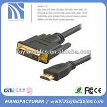 Hochgeschwindigkeitsgold überzogen 1.8m 6FT Schwarzes DVI ZU HDMI Mann zum männlichen Kabel