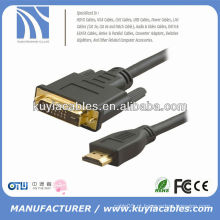 High Speed Gold Plated 1.8m 6FT Preto DVI para HDMI macho para cabo macho