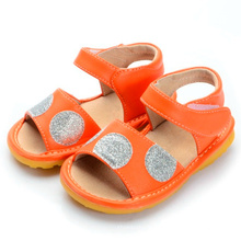 Sandálias Orange Baby Girl com Sliver Big Polka Dots