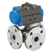 Three Way PVC Pneumatic Ball Valve