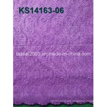 Metallic Thread Multicolor Cord Lace Fabric