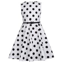 Kate Kasin Niños 'Audrey' Vintage Divinity vestido de los años 50 vestido de algodón blanco con Big Black Dots vestido de las niñas KK000250-20
