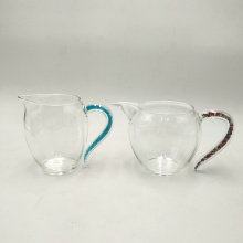 thermostability clear glass tea cup with handle
