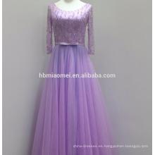 2017 nuevo diseño de color púrpura vestido de noche de imagen real en stock vestido de noche musulmán de manga larga de encaje con cuentas