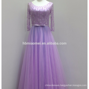 2017 new design purple color real picture evening dress in stock beaded lace long sleeve muslim evening dress