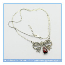 Latest design 925 silver butterfly shape pendant necklace with ruby