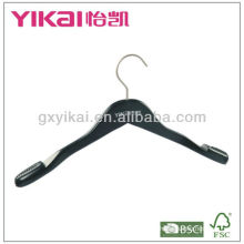 Matted black wooden Coat hanger with notches