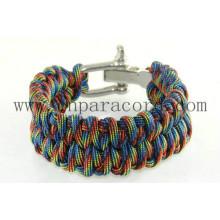 camo color adjustable metal buckle paracord bracelet