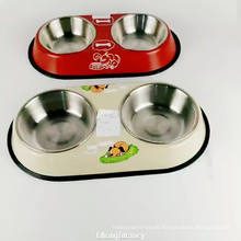 12inch non-skid stainless steel double pet dog feeder bowl