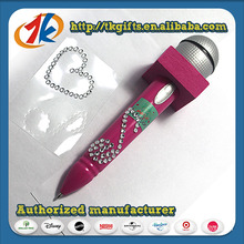 Stationery Microphone Shaped Ball Point Pen and Gem Sticker Sheet Set