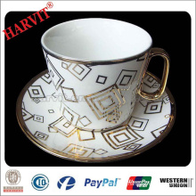 Sale Promotion Ceramic Drinkware Set/ Porcelain Gold Rim Cup Set/ Decal Cup saucers