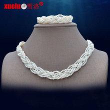 Pequeños conjuntos de joyería de collar de perlas de agua dulce de moda