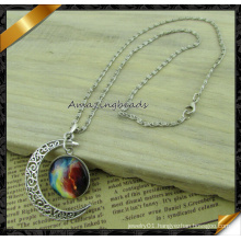 2015 Hot Sale Fashion Starry Sky Planet Silver Moon Necklaces & Pendants Vintage Jewelry Women (FN041)