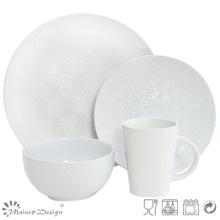 16PCS Losange Forme Debossed Ceramic Dinner Set