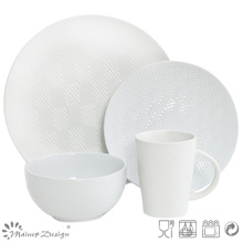 16PCS Lozenge Shape Debossed Ceramic Dinner Set