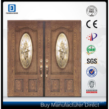 Double Decorative Tempered Glass Inserted Classic Hand Craft Fiberglass Door