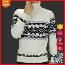 Moda cuello alto jersey de cuello alto patrón suéter de lana