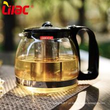 Bule de chá de vidro transparente lilás com infusor inoxidável