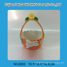 Cute Easter ceramic basket with rabbit pattern