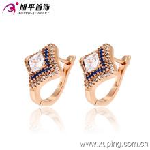 Moda popular de lujo CZ chapado en oro de joyería Square Four-Point estrellas pendiente del aro - 28747