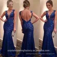 Alibaba Élégant Long Nouveau Designer Cap Sleeve Royal Blue Couleur Lace Mermaid Robes de soirée ou Robe de demoiselle d'honneur LE35