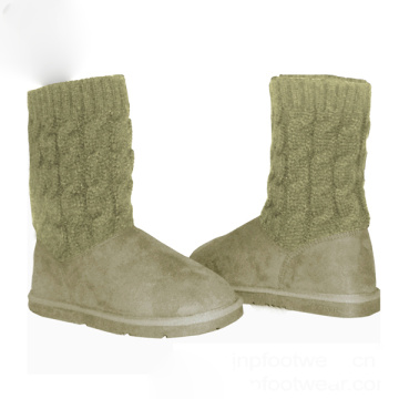 Girls Cute wool cow suede Knitting Shoe boots