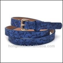 Beautiful unisex genuine Leather blue Skinny flower printed leather Belt