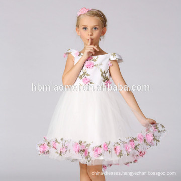 Flower girl dress with flowers wedding birthday Bridesmaids girl Tulle Dress
