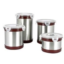 gros style coréen en acier inoxydable ronde thé contenant des boîtes de conserve hermétiques