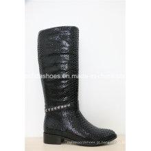 Novas botas femininas européias de couro de borracha de inverno