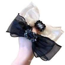 Korean Solid Yarn Rhinestone Bow Knot Scrunchies Hair Tie Elastic Band Ring Cute Girl Ponytail Head Rope Rubber Belle Femme