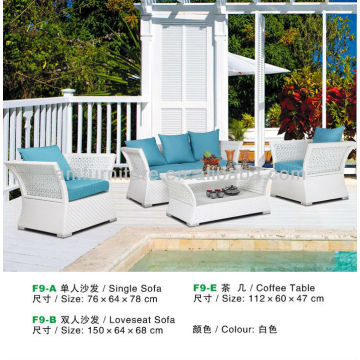 rattan coffee table and sofa in white colour
