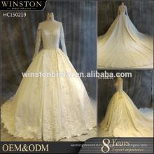 Guangzhou Factory Real Sample Dernières robes de mariée en dentelle à manches longues Alibaba