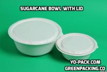 Compostable sugar cane pulp takeaway bowl with lid-950ml