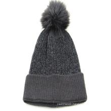 Wholesale Womans Winter Knit Hat Beanie Hats plain color with fake fur pompon