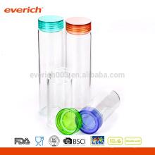 Copa de vidro com tampa de plástico, copo de água de vidro transparente