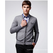 100%Wool ODM V-Neck Man Sweater Cardigan