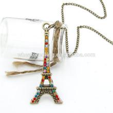 Prix d'usine le plus populaire en strass, la Tour Eiffel, fantaisie, long, pull, chaîne, pendentif, collier