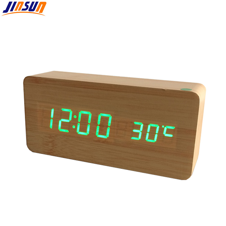 Bamboo Effect Smart Clock With Temperature