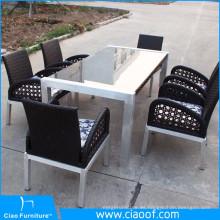 Venta caliente All Weather Outdoor Glass 6 Seater mesa de comedor Set Luxury