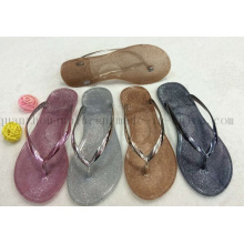 Chinelos casuais feitos sob encomenda das mulheres de Paillette do PVC da forma Flip Flop