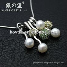 Nuevo collar pendiente de plata de la perla de cadena de la manera 925