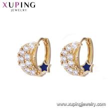 93317 Gros mariage femmes bijoux élégant élégant lune et étoile forme boucles d'oreilles en or avec minuscule ziroon