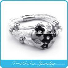 strand branco pulseira de aço inoxidável charme cordão de couro trançado jóias pulseira de couro artesanal pura