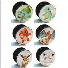 Vis acrylique de 6 mm à 25 mm 6 Pokemon Designs Ear Tunnel Plug