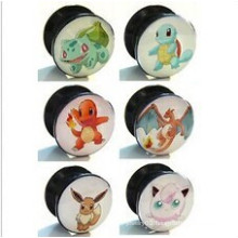 6mm to 25mm Acrylic Screw 6 Pokemon Designs Ear Tunnel Plug