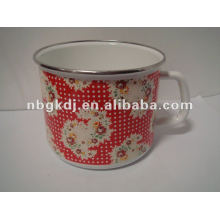 enamel milk mug with PP lid and SS rim