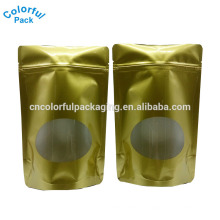 Cor de ouro fosco zip lock folha de alumínio stand up pouch food grade bag