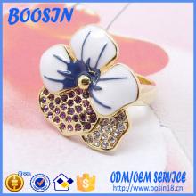 Esmalte personalizado 925 Sterling Silver Flower Shape Ring for Girls