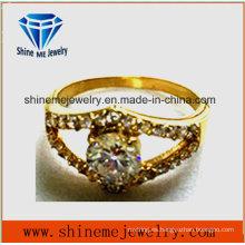 Anillo de piedra de cristal multi plateado oro de la joyería 18k de la manera